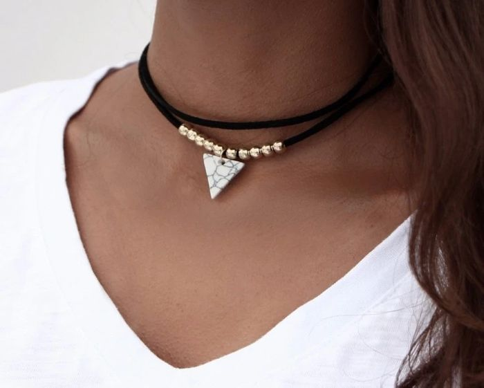 DOUBLE LAYER BEADED TRIANGLE NECKLACE - Pay Postage