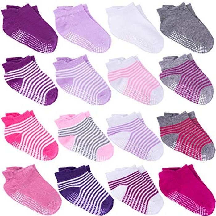 16 Pairs Non Skid Ankle Socks with Grips