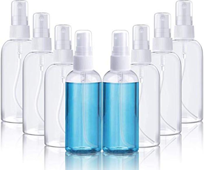 8 Piece Transparent Plastic Spray Bottles