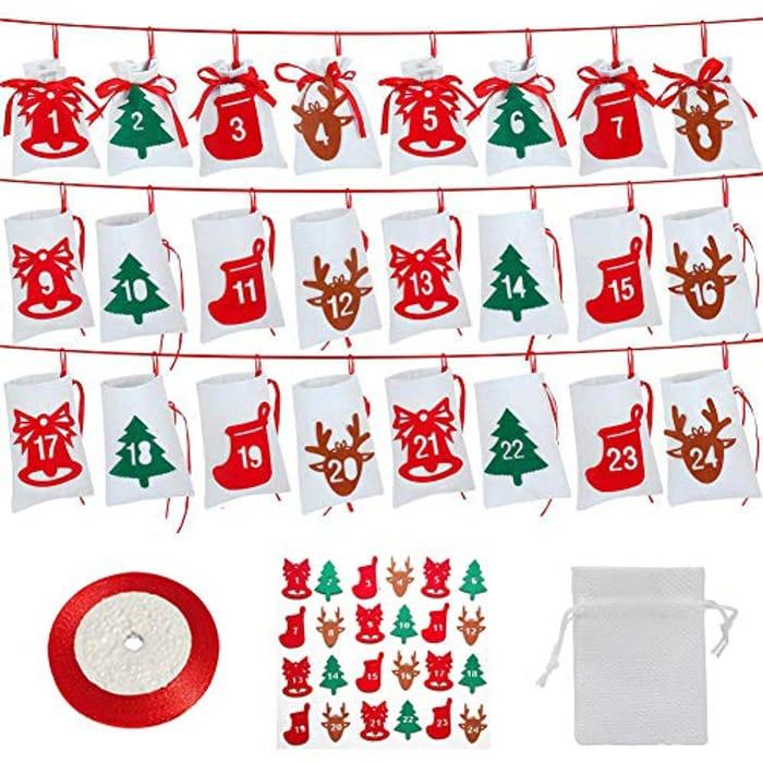 24 Christmas Drawstring Bags
