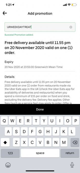 Free Delivery on Uber Eats until 20th November (Minimum Spend £15)