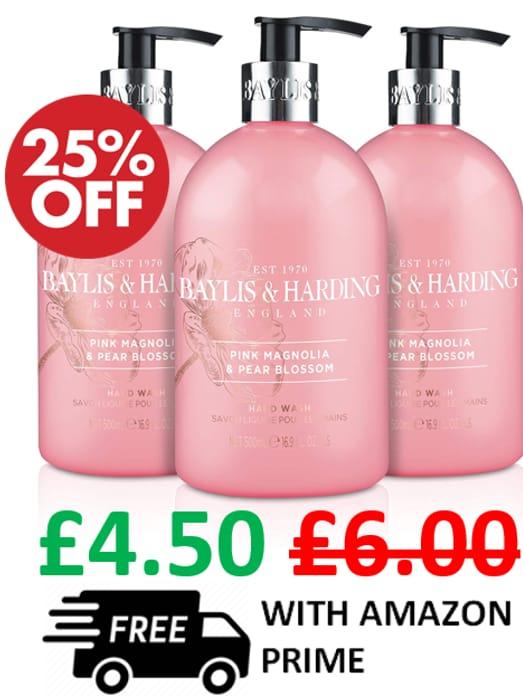CHEAP! Baylis & Harding - Pink Magnolia & Pear Blossom Hand Wash x 3