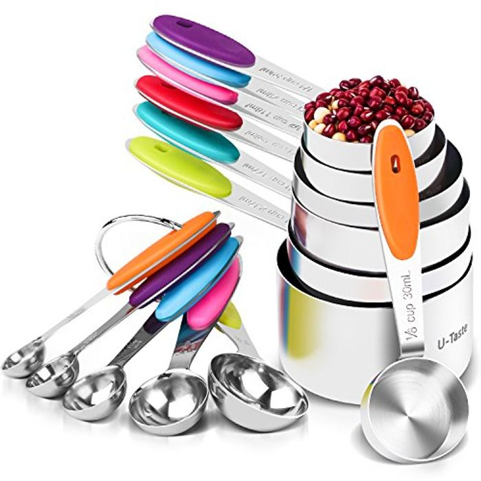 10 Pcs 304 Stainless Steel 7 Measuring Cups + 5 Measuring Spoons