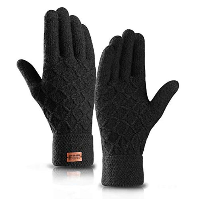 Mens Touchscreen Gloves,Winter Warm Knit Gloves (code & 20% voucher)