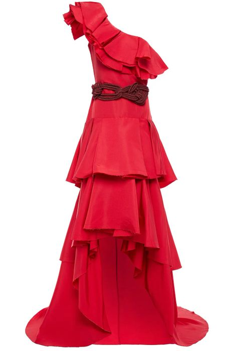 Red Tiered Ruffled Silk-Faille Gown - Johanna Ortiz