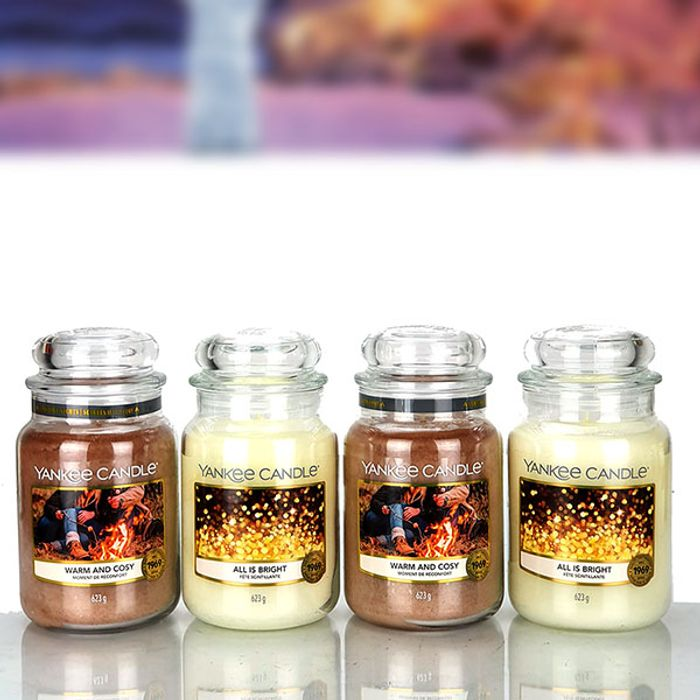 4 X OFFICIAL YANKEE CANDLE 623G LARGE JARS FESTIVE COSY SELECTION BOX