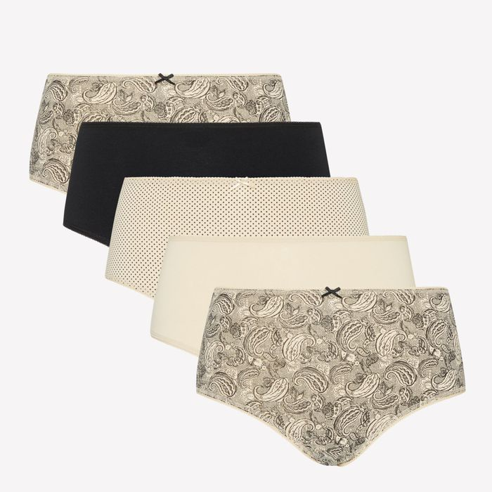 Women's 5 Pack Cotton Stretch Paisley Lace Print Midi Knickers