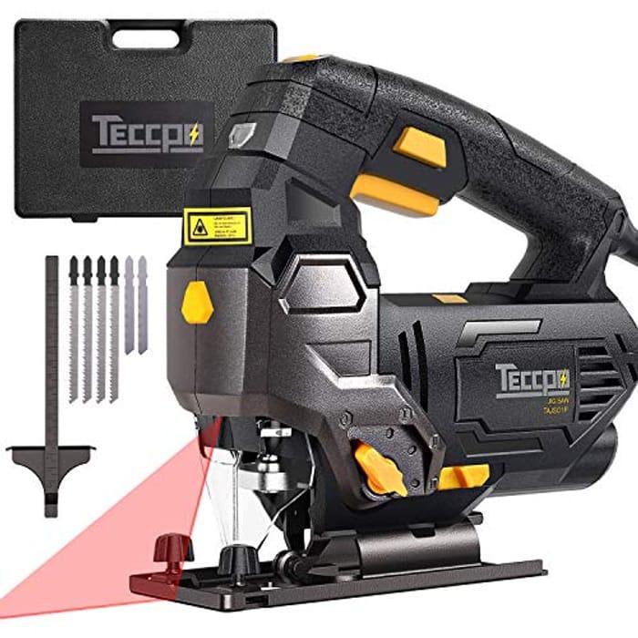 Half Price! TECCPO 800W 3000SPM Jigsaw with Laser, 6 Blades,