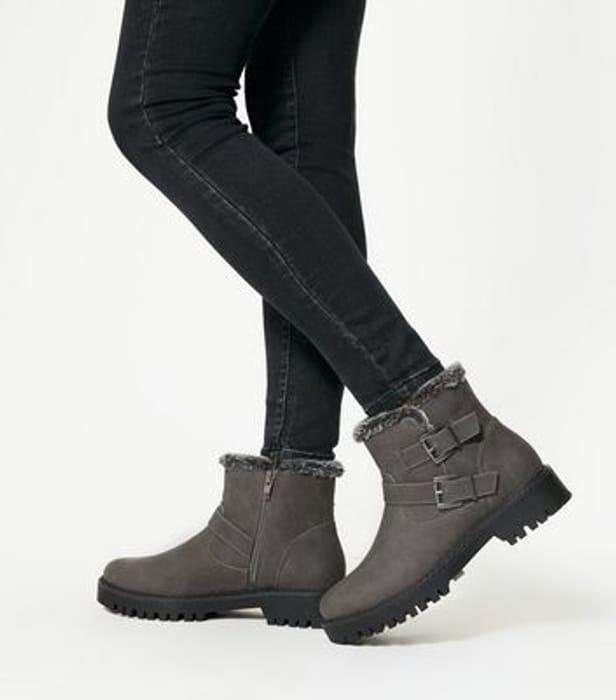 Grey Faux Fur Lined Biker Boots