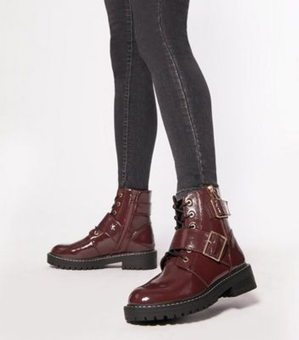 Dark Red Patent Lace up Buckle Boots