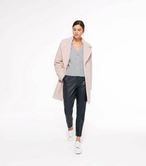 Pink Teddy Faux Fur Long Coat