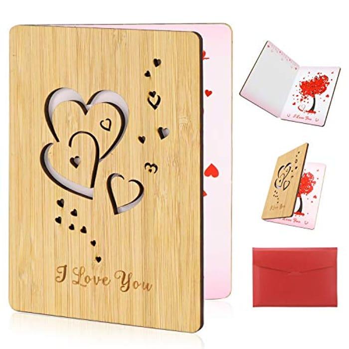 Heart Card Handmade Wood Anniversary