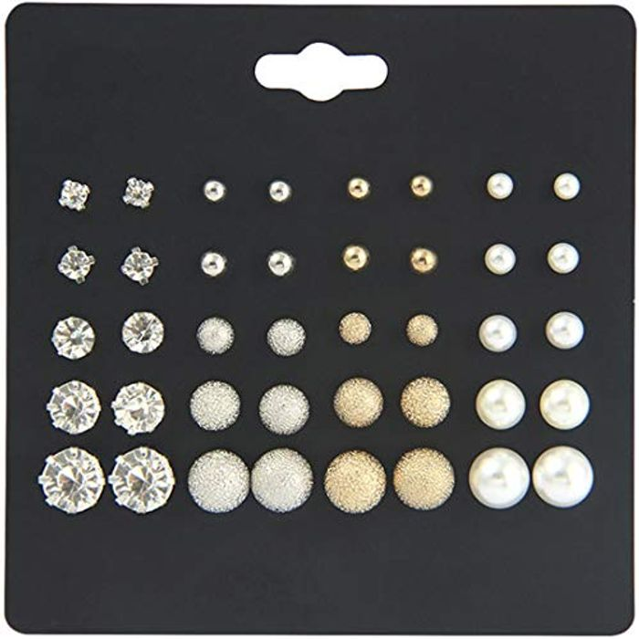 20 Pairs Rhinestone Faux Pearls Ball Stud Lovely Earrings