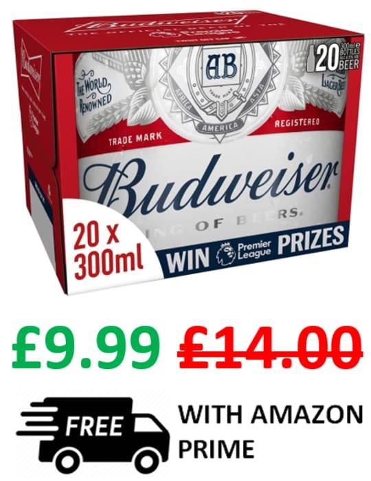 Amazon #1 Best Seller - Budweiser Lager Beer Bottles, 20 X 300ml