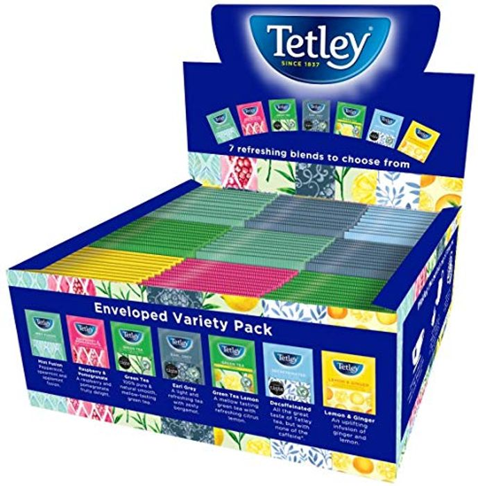 Tetley Indulgence Teabags Variety Box, 7 Mixed Flavours / 90 Bags