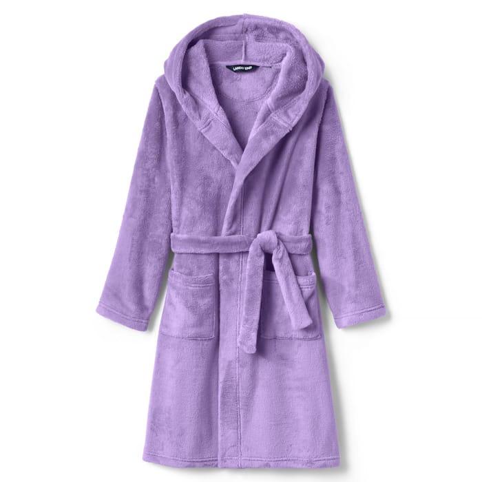 CHEAP! Lands' End - Purple Kids' Hooded Fleece Dressing Gown