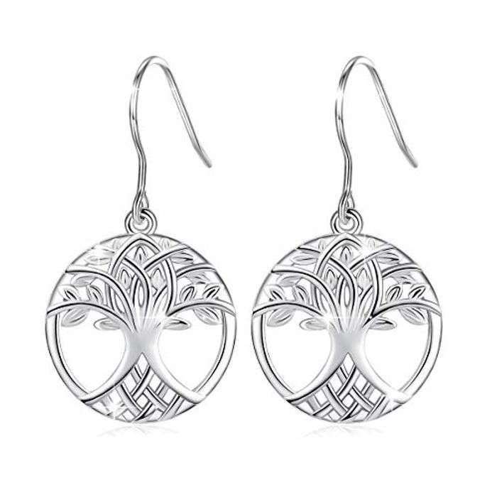 Tree of Life Earrings for Women, 925 Sterling Silver Drop Dangle Earrings