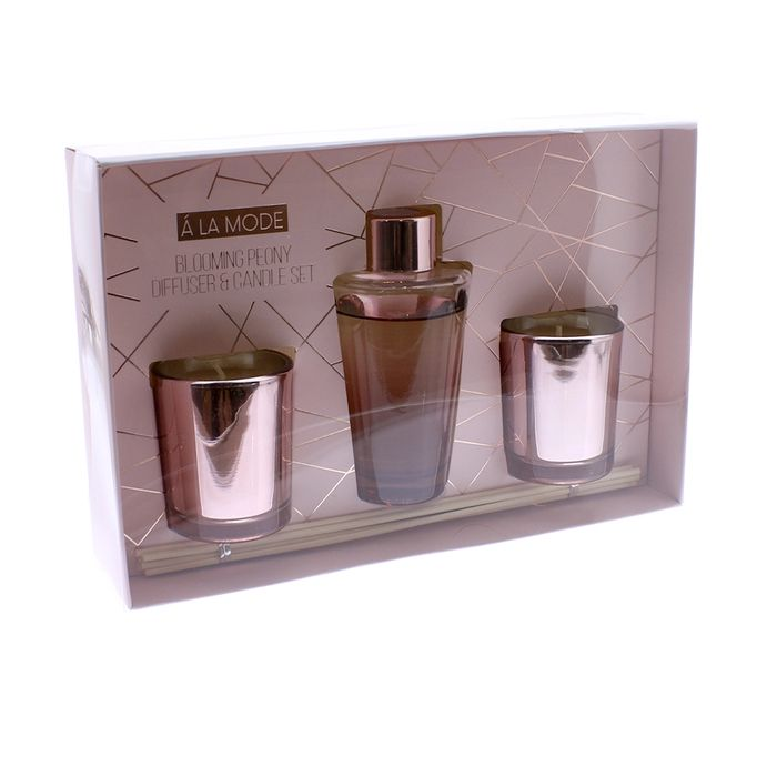 A La Mode Blooming Peony Diffuser & Candle Set