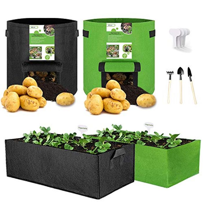 Deal Stack - 4 Pack Vegetable Grow Bags + Shovel + 4 Plant Labels