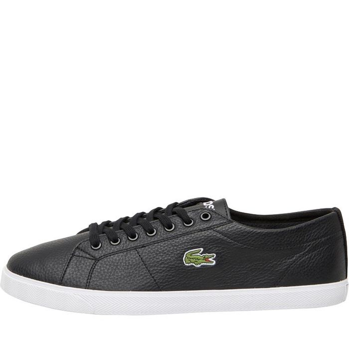 CHEAP! Lacoste Mens Riberac Leather Trainers Black Size 7