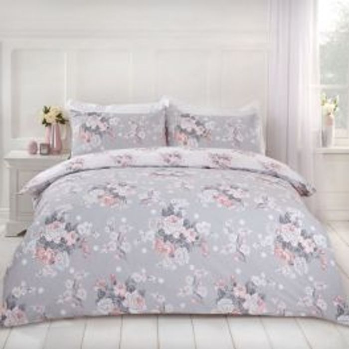 ENGLISH ROSE DUVET SET - GREY Single