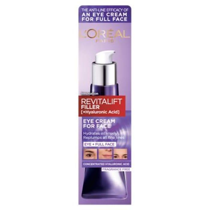 L'Oreal Paris Revitalift Filler Hyaluronic Acid Eye Cream for Face 30ml