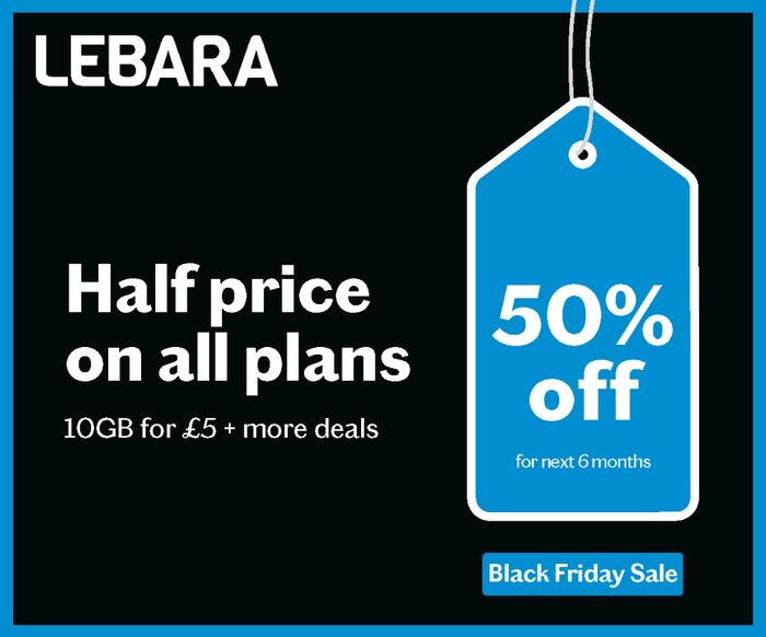 Lebara Cyber Monday - 1/2 Price Sim Only For 6 Months From £2.50 - No Contract!