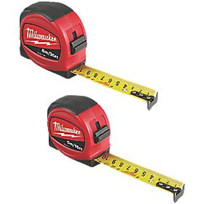 MILWAUKEE 5 & 8M TAPE MEASURE SET 2 PIECES - Only £9.99!