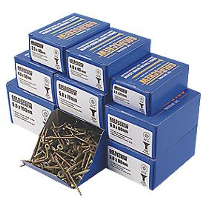 GOLDSCREW DOUBLE-COUNTERSUNK WOODSCREWS TRADE PACK - Only £14.99!