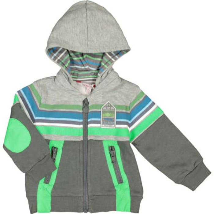 BOBOLI Grey & Green Zipped Hoodie