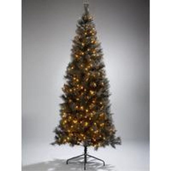 7ft Cashmere Tips Black Pre-Lit Christmas Tree
