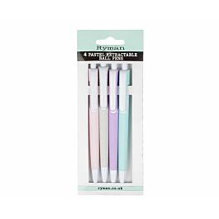 Ryman Pastel Ballpoint Pens Pack of 4