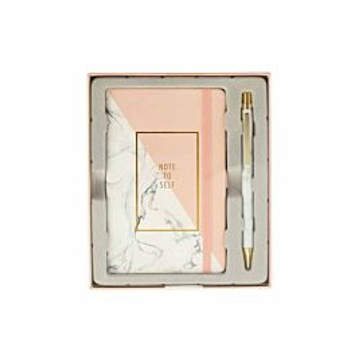Notebook and Pen Gift Set White/Pink Marble