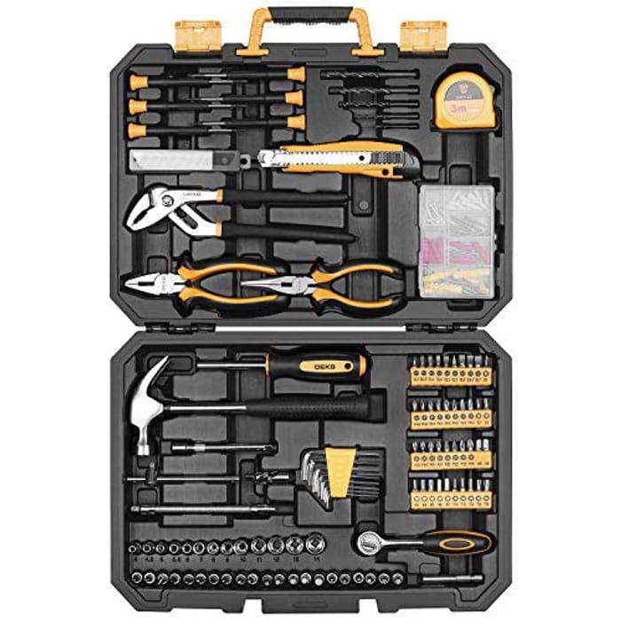 DEAL STACK - DEKO 196 Piece Tool Set General Household Hand Tool Kit