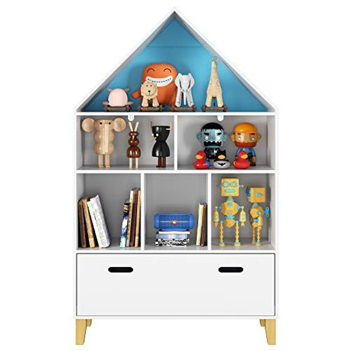 Children's Cabinet Kids Bookcase with Drawer Books Toys Organizer
