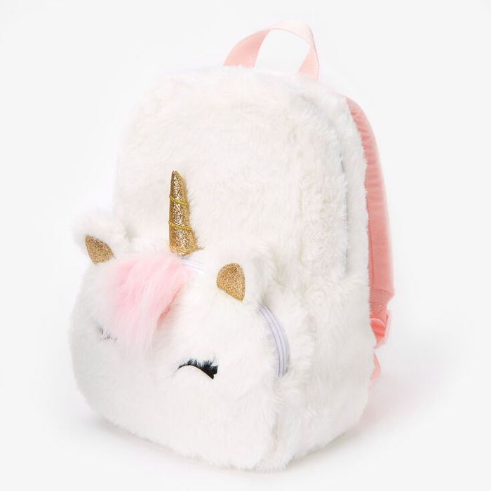 Claire's Club Furry Unicorn Small Backpack - White