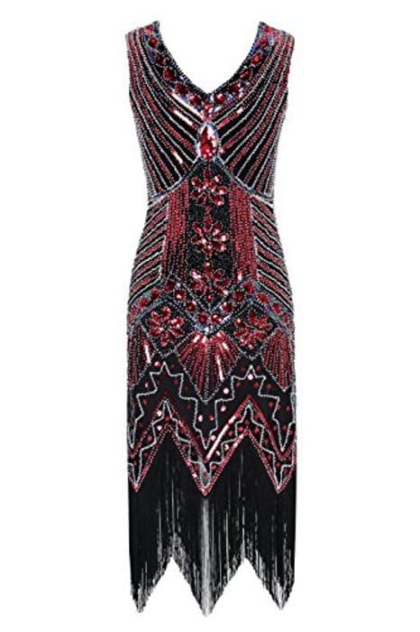 Women's 1920s v Neck Beaded Fringed  Dress (Lightning Deal & Code)