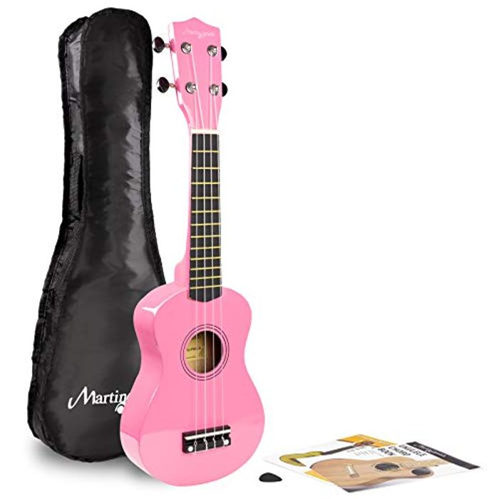 Martin Smith Soprano Ukulele with Ukulele Bag and Pink Design