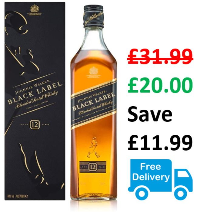 Johnnie Walker Black Label Scotch Whisky, 70cl **4.8 STARS**