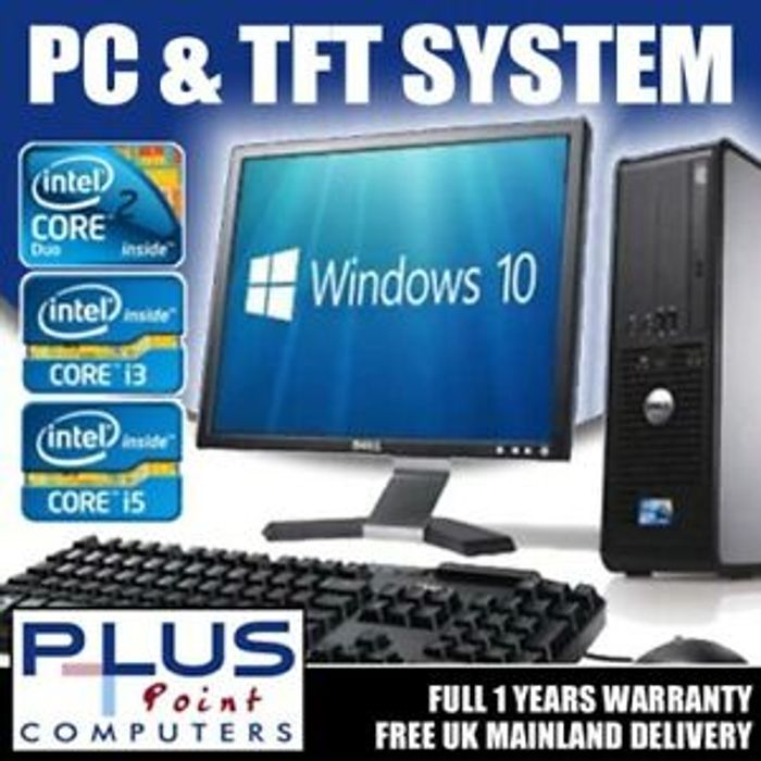 Refurb Dell/hp I3 160GB Desktop PC & 17'' Tft Windows 10 £62.99 Delivered