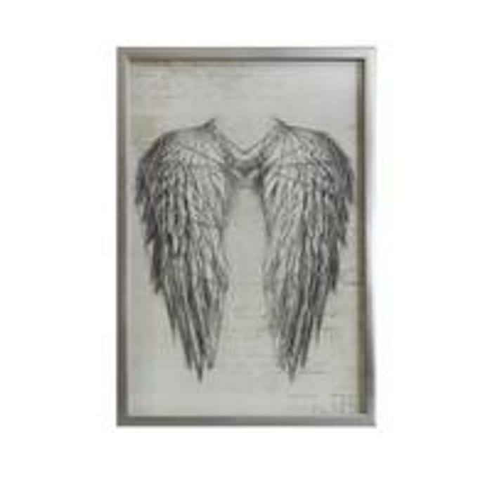 Angel Wings Silver Metallic String Art Framed Print