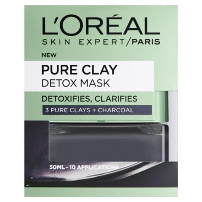 CHEAP! L'Oreal Paris Pure Clay Detox Face Mask Charcoal 50ml