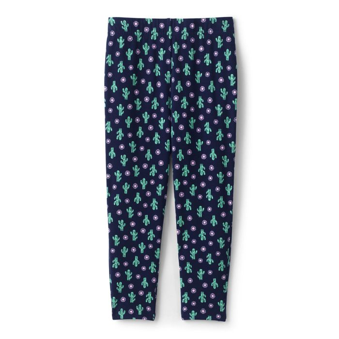 Lands' End - Blue Girls' Patterned Iron Knees Cropped Leggings