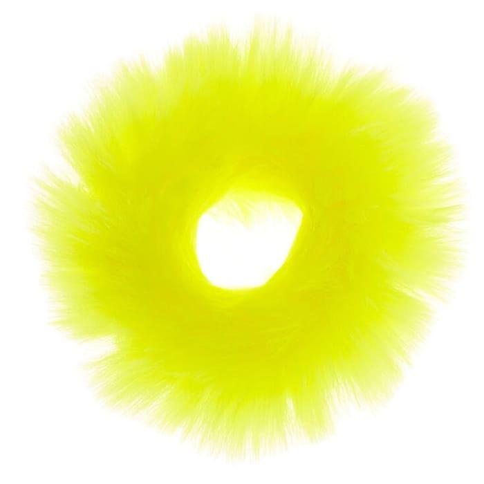 Medium Faux Fur Hair Scrunchie - Neon Yellow