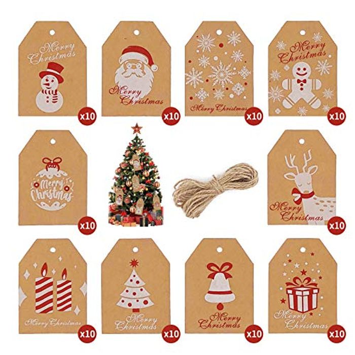 DEAL STACK - Kraft Paper Gift Tags, Christmas Label + 5% Coupon