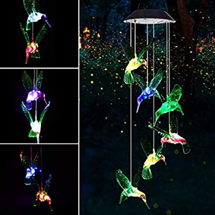 Solar Powered LED Hummingbird Wind Chime