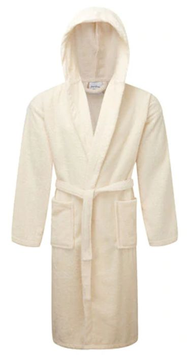 100% Egyptian Cotton Luxury Hooded Bathrobe - One Size , Various Colours