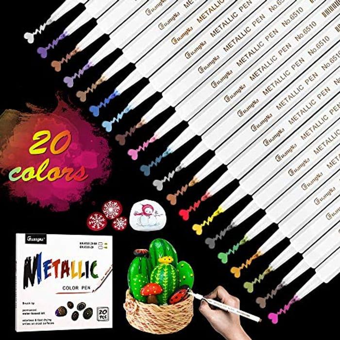 20 Metallic Marker Pens