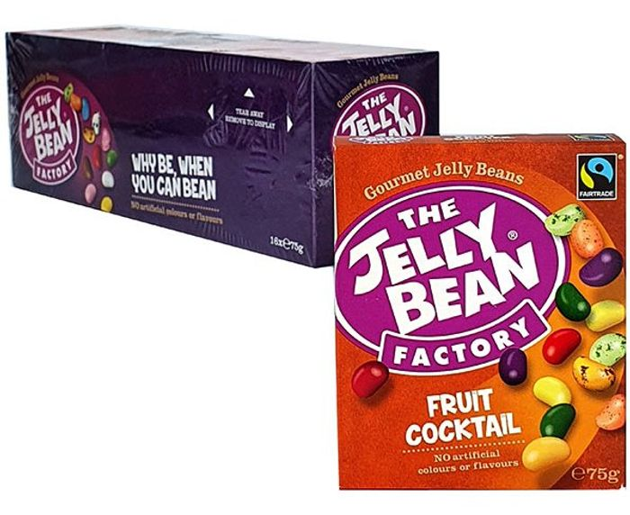 16 X The Jelly Bean Factory Gourmet Fruit Cocktail Sweets 75g