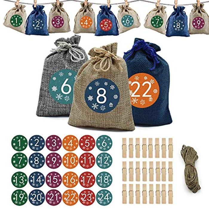 24pcs Christmas Advent Calendar Bags